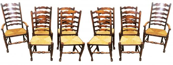 Set of 10 English 19th Century Ladder Back Dining Chairs