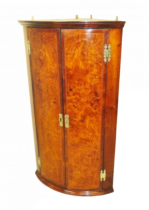 18th Century Georgian Burr Elm & Walnut Corner Cupboard