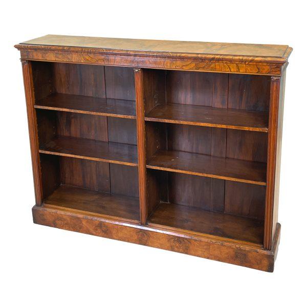 Victorian 19th Century Burr Walnut Dwarf Open Bookcase