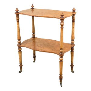 19th Century English Birds Eye Maple Étagère