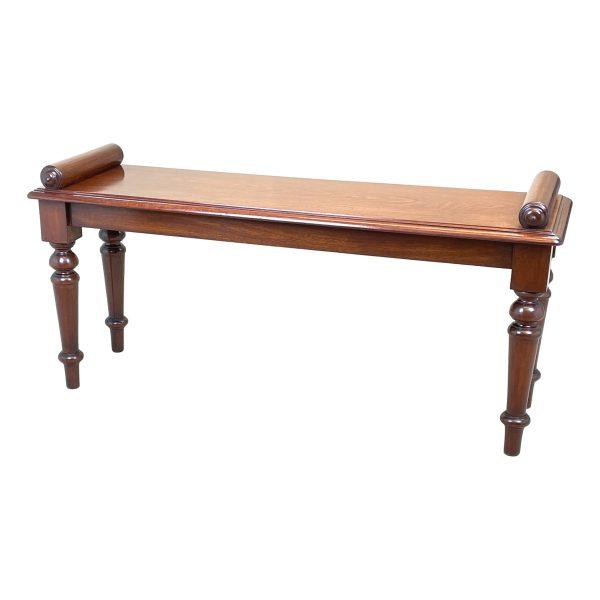 Late 19th Century Mahogany Window Seat Hall Bench