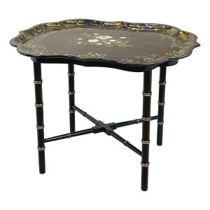 Mid 19th Century Black Papier Mache Tray On Stand