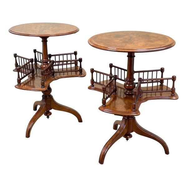 Pair Of Victorian Walnut Revolving Book Tables